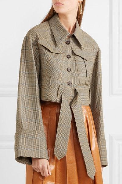 Belted houndstooth wool jacket