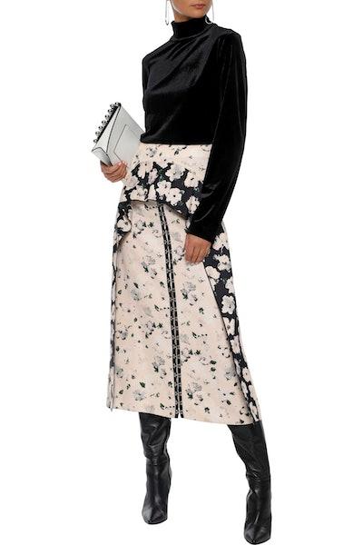 Proenza Schouler Ruffled Floral-Print Crepe de Chine Midi Skirt