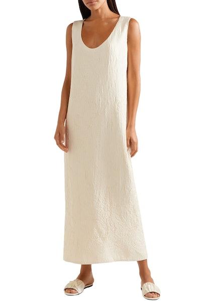 The Row Plissé Silk Maxi Dress