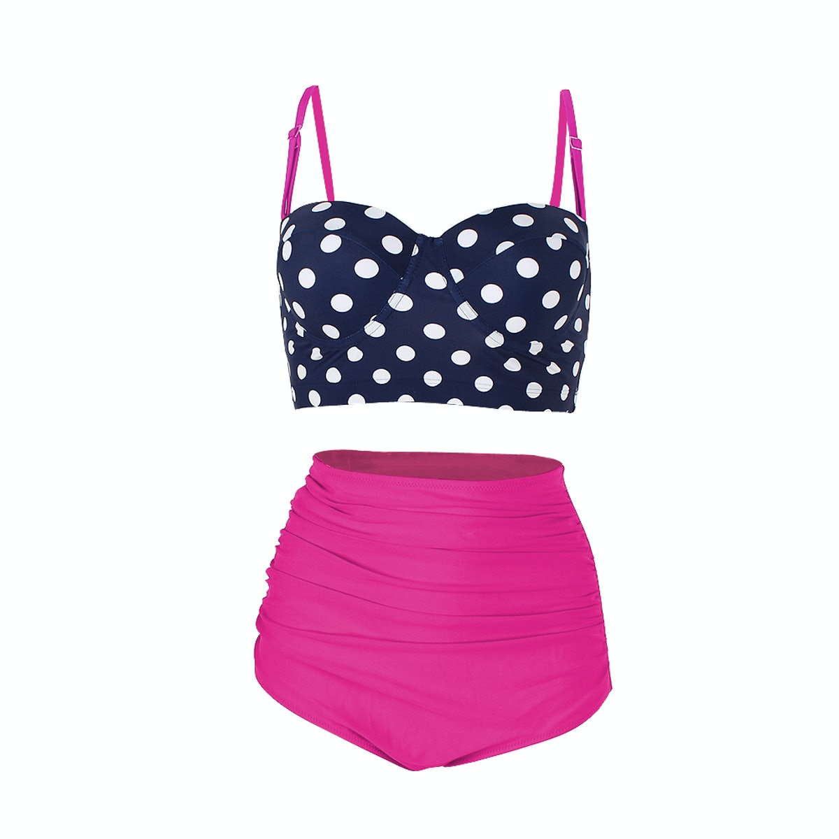 FeelinGirl Women Vintage Two Piece Swimsuits High Waisted Bathing Suits with Underwired Top
