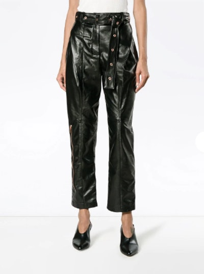 Leather Belted Straight Pant