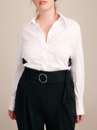 White Cotton Shirt With Lacing Detail
