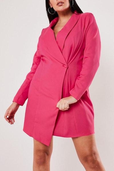 Pink Asymmetric Blazer Dress