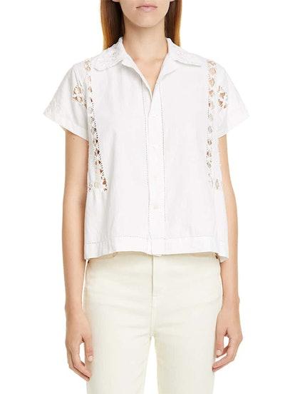 Lace Drawnwork Shirt