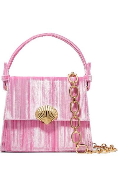Jemima Plissé-Velvet Shoulder Bag