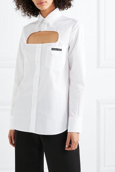 Cutout Cotton-Poplin Shirt