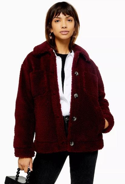 Burgundy Borg Jacket