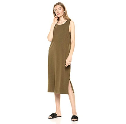 Daily Ritual Lived-In Cotton Muscle Sleeve Midi Dress