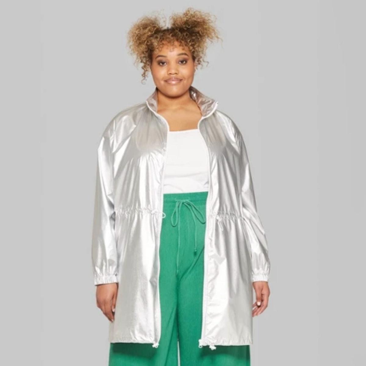 Women's Plus Size Long Sleeve Zip-Up Metallic Windbreaker Jacket
