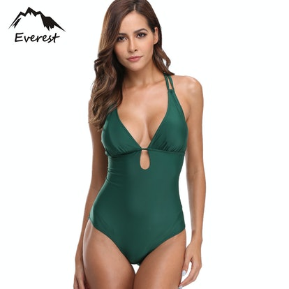 GLiving Deep V Retro One Piece Swimsuit