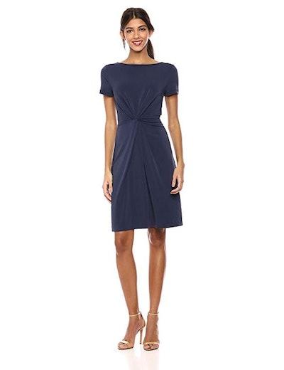 Lark & Ro Crepe Short Sleeve Twist Dress