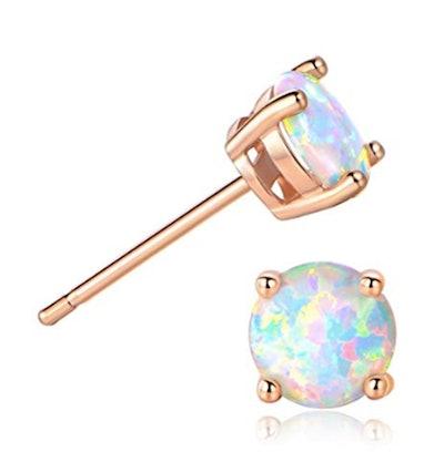 GEMSME 18K Rose Gold Plated Opal Stud Earrings