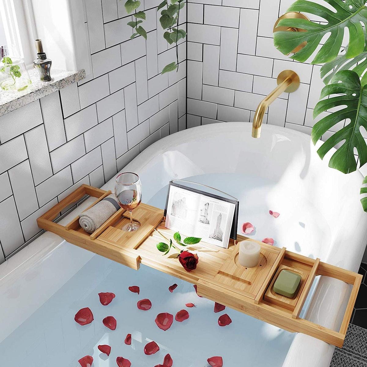 SONGMICS Extendable Bathtub Caddy