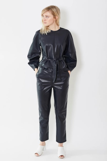 Ethan Vegan Leather Pants in Navy