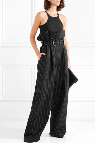 Belted Pinstriped Wool-Blend Wide-Leg Pants