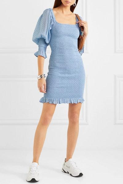 Shirred Floral-Print Crepe Mini Dress