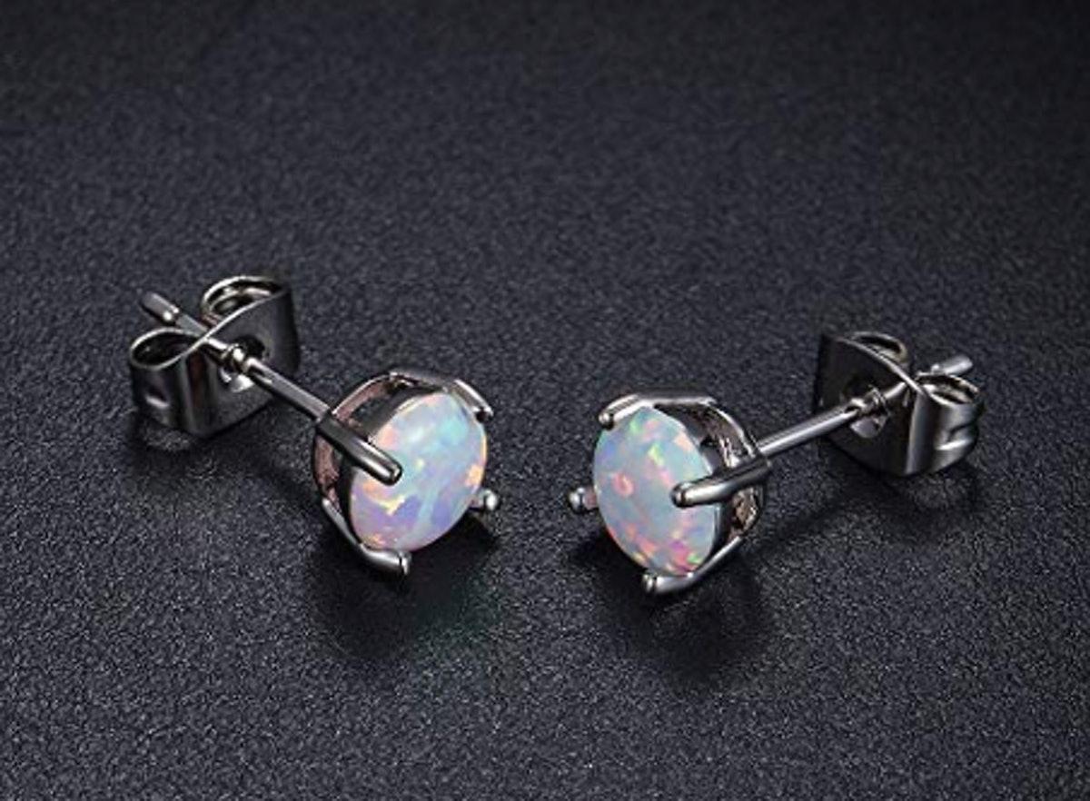 GEMSME 18K White Gold Opal Studs (5 Pairs)