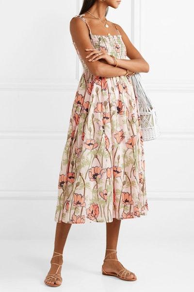 Smocked Floral-Print Cotton-Voile Midi Dress