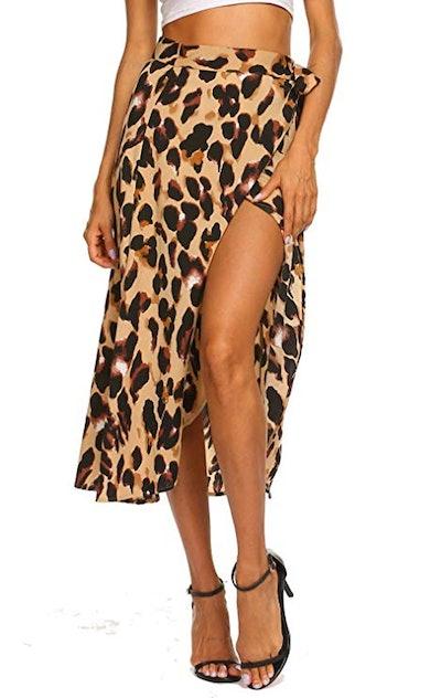 Newchoice Leopard Print Midi Wrap Skirt