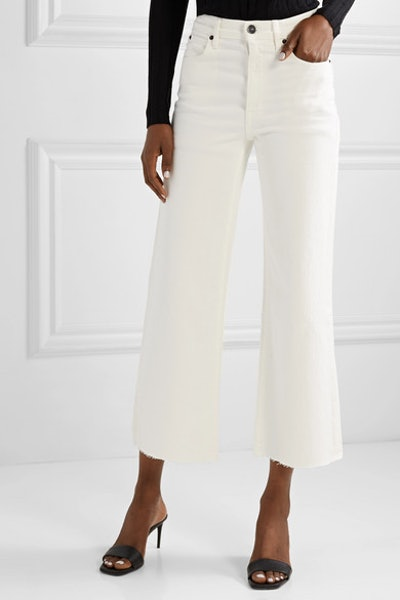 Grace Cropped Frayed High-Rise Wide-Leg Jeans