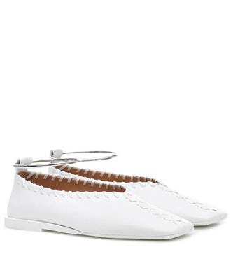 Ankle-Ring Leather Ballet Flats