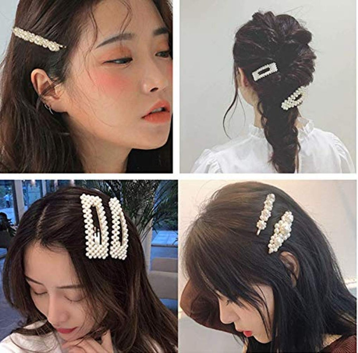 MXXGMMYJ Oversized Pearl Hair Clips (4 Pack)