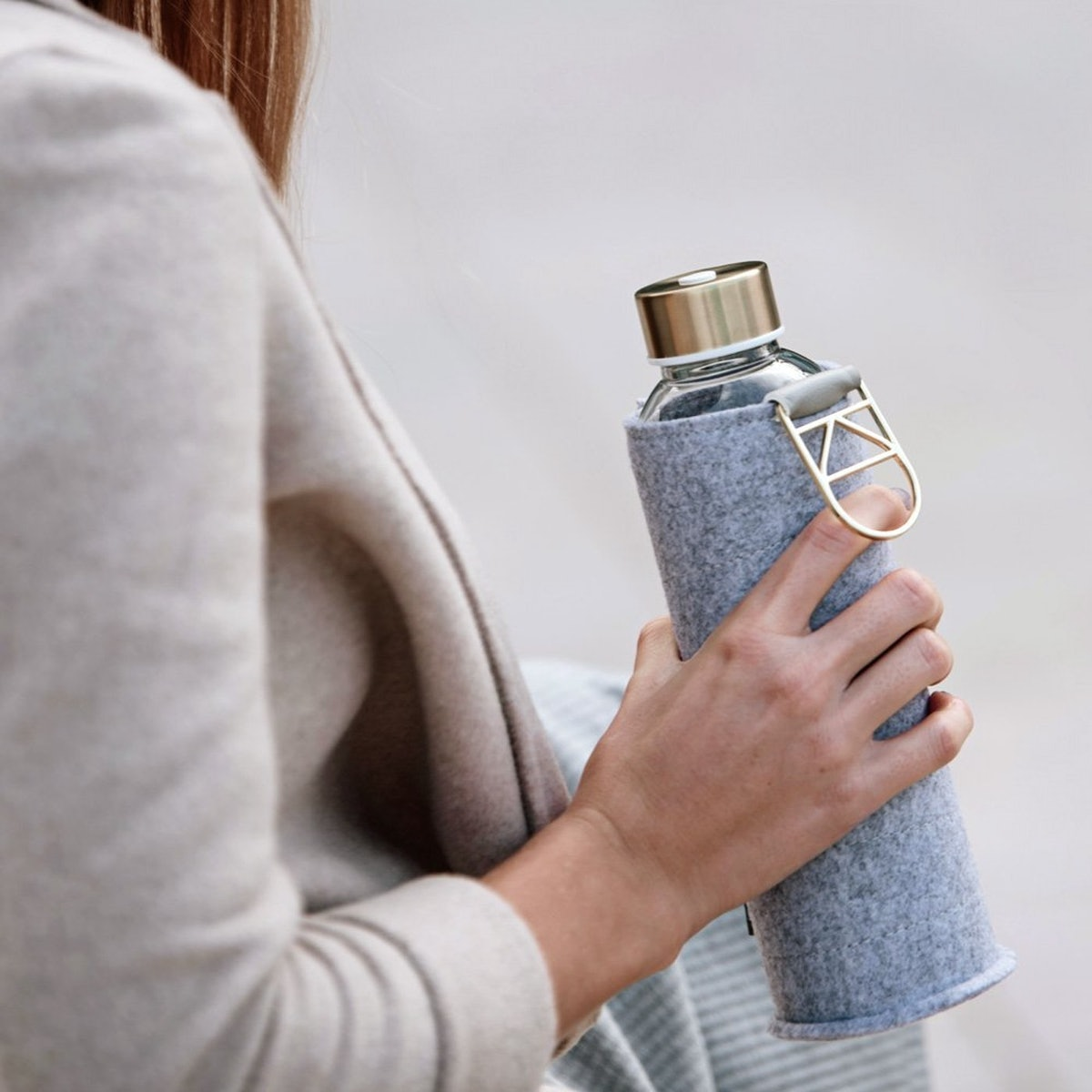 EQUA Glass Water Bottle with Felt Cover