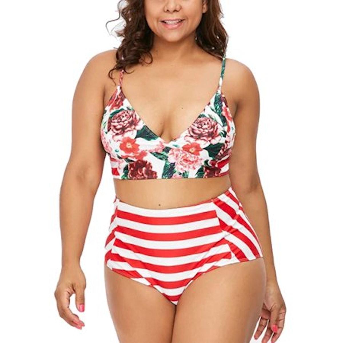 Plus Size Women's Sleeveless Tankini Monokini Floral Swimwear