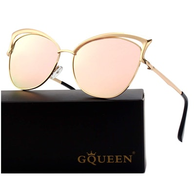 GQUEEN Women's Oversized Polarized Metal Frame Mirrored Cat Eye