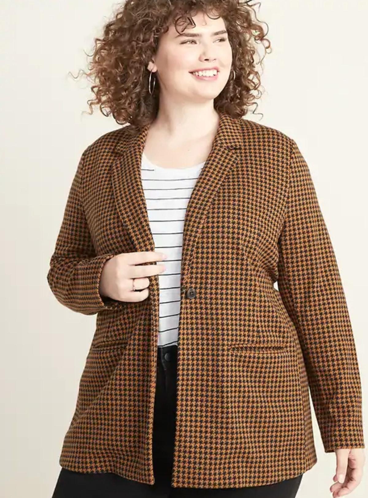Jacquard Plus-Size Blazer