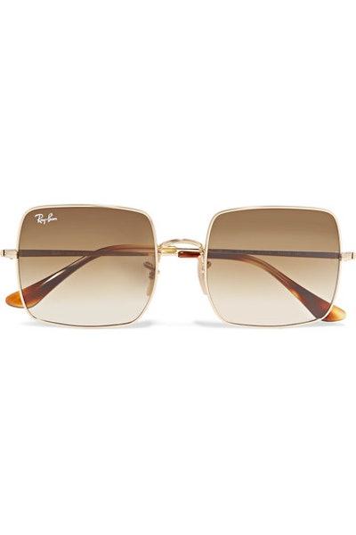 Square-Frame Gold-Tone Sunglasses