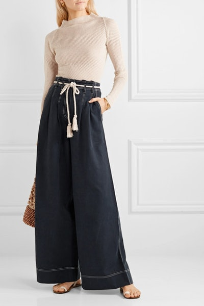 Soren Belted Tencel and Cotton-Blend Wide-Leg Pants