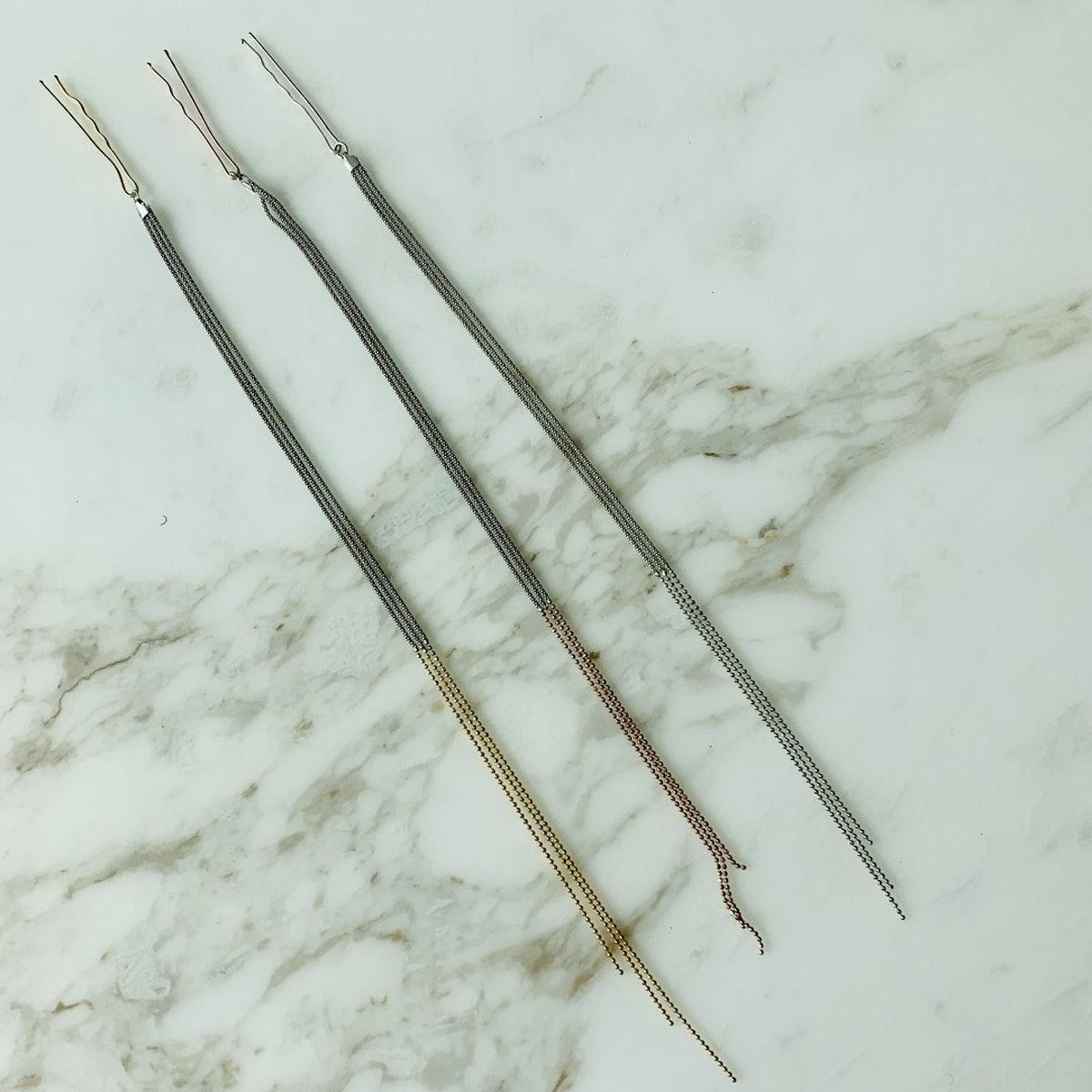 Gold Fringe Hair Pins