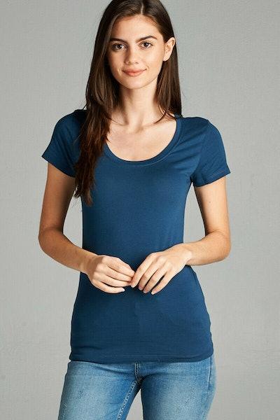 Blended Women Basic Plain Scoop Neck Short Sleeve T-Shirt