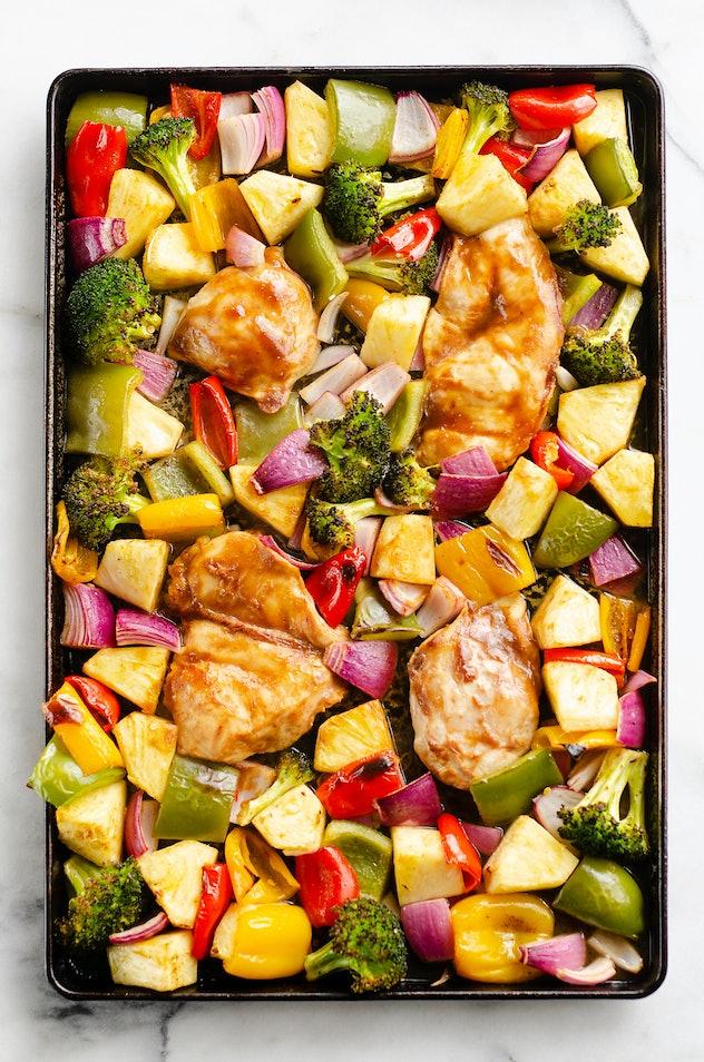 Sheet pan pineapple teriyaki chicken
