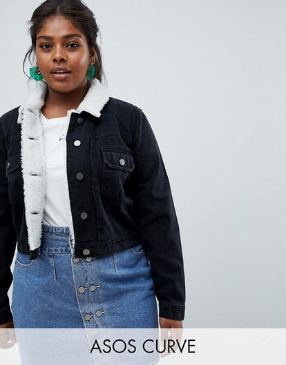 ASOS DESIGN Curve Denim Shrunken Jacket With Fleece Collar