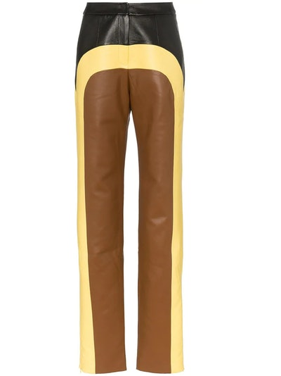 Colour-Block Straight-Leg Trousers