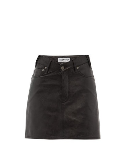 V-Waist Grained-Leather Mini Skirt