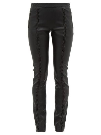 Whipstitched Leather Trousers