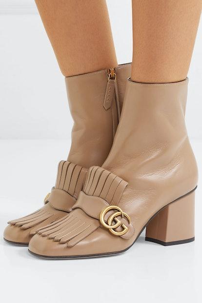 Marmont Fringed Logo-Embellished Leather Ankle Boots