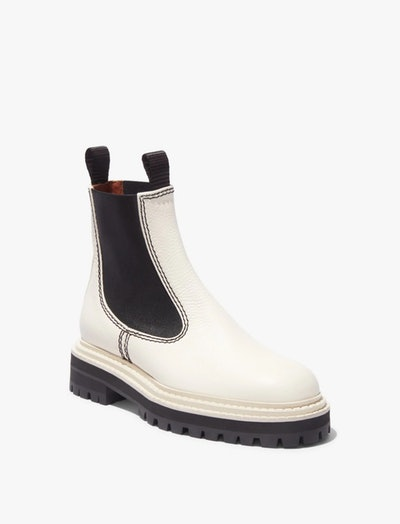 Lug Sole Chelsea Boots in White