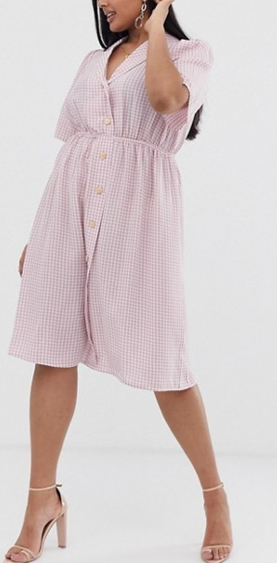 Button Front Midi Shirt Dress in Gingham