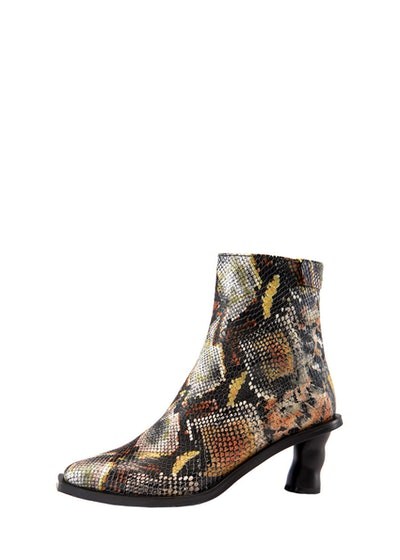 Wave Heel Python Ankle Boot