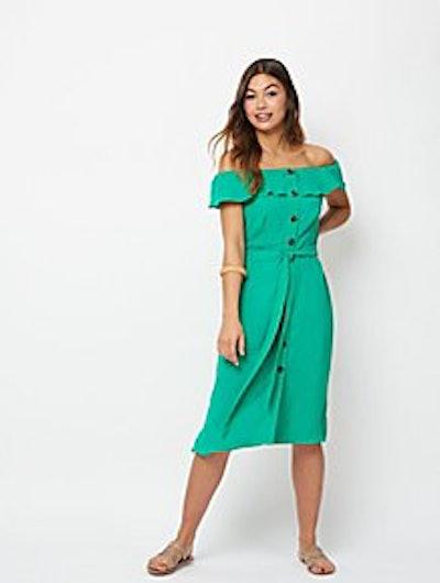 Green Button Down Bardot Midi Dress