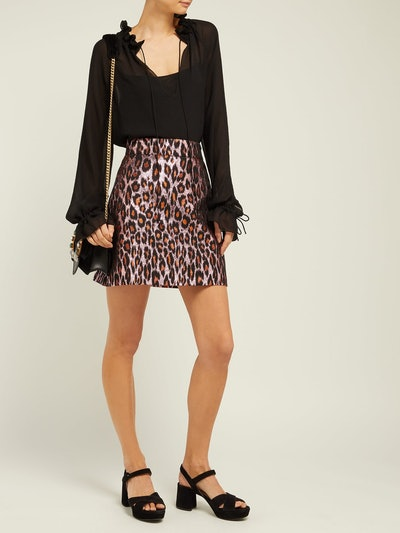 Leopard-Brocade Mini skirt