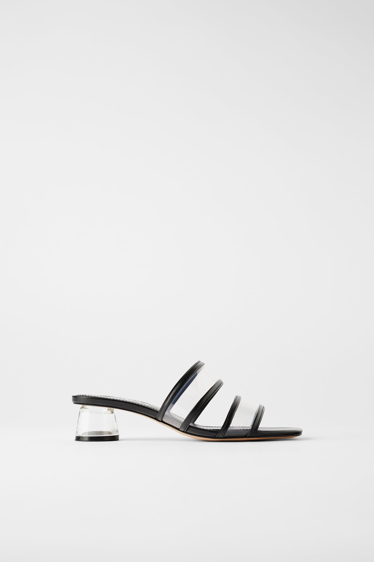 Methacrylate Heeled Sandals with Vinyl Straps