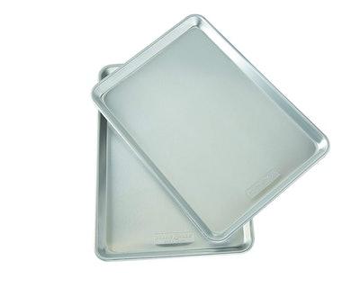 Natural Aluminum Commercial Baker's Half Sheet (2 Pack), Silver