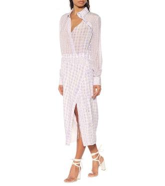 Constantina Checked Silk Dress