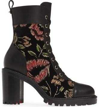 Metallic Floral Lace-Up Boot
