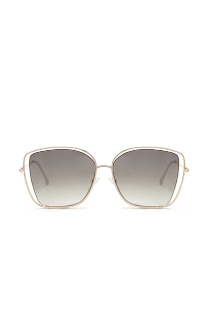 Premium Cutout Square Sunglasses in Gold/Green